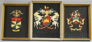 Three Framed 20th Century American School Oil on Panel Coats of Arms