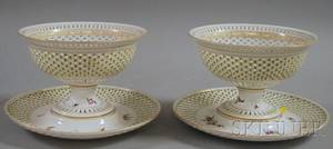 Pair of Dresden Handpainted Reticulated Porcelain Baskets with Underplates