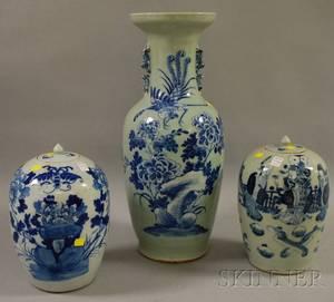 Chinese Export Bluedecorated Celadonglazed Porcelain Vase Jar and Another Chinese Export Porcelain Jar