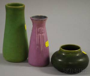 Two Rookwood Pottery Matte Glazed Vases and a Hampshire Pottery Matte Green Glazed Jar
