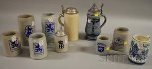 Ten Modern Assorted Stoneware and Ceramic Beer Steins and German Carved Painted and Decorated Wood Wall Plaques