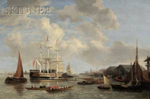 Attributed to Joseph Francis Ellis British 17831848 The Royal Yacht ROYAL SOVEREIGN Off Deptford