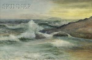 George Howell Gay American 18581931 Surf and Rocks at Twilight