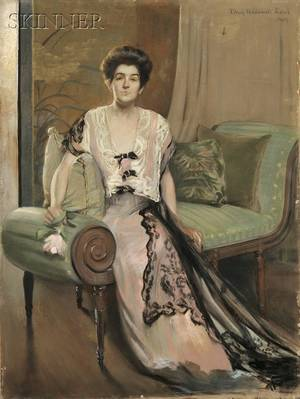 May Hallowell Loud American 18601916 Seated Woman in Pink Gown