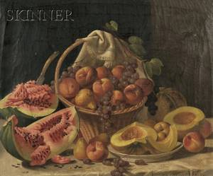 John F Francis American 18081886 Elaborate Still Life with Melons and Fruit on a Marble Slab