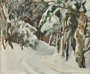 William Lester Stevens American 18881969 Path through the Trees in Winter