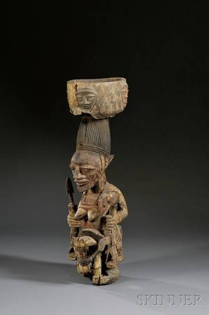 African Carved Wood Shrine Figure