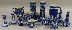 Fourteen Wedgwood Dark Blue Jasper Dip Items