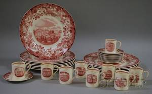 Set of Eleven Wedgwood Red and White Harvard University Ceramic Dinner Plates and a Set of Nine Demitasse Cups and Eleven Saucers