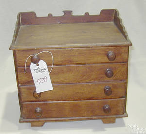 Pennsylvania pine miniature chest of drawers dated 1854