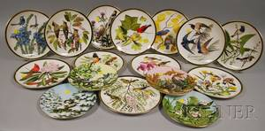 Set of Twelve Wedgwood Audubon Society Songbirds of the World Plates and Four Romance of the Seasons Bird Plates