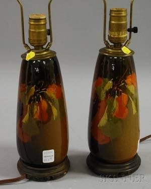 Pair of Art Pottery Floraldecorated Standard Glazed Table Lamps