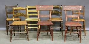 Seven Assorted Decorated 19th Century Side Chairs