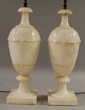 Pair of Large Carved Alabaster Vasiform Table Lamps