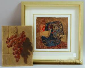Framed Abstract Lithograph and Unframed Oil on Board of Grapes