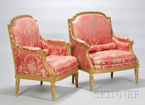 Pair of Large Louis XVIstyle Silk Damask Upholstered Carved Giltwood Bergeres