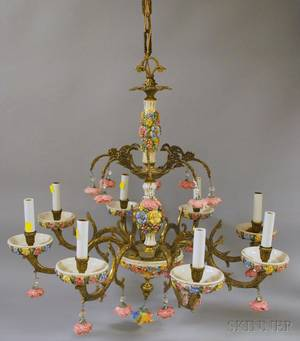 Italianstyle Capo di Montetype Mounted Brass Eightlight Chandelier