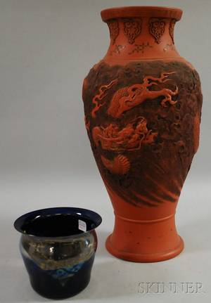 Newcomb Lustre Art Glass Vase and a Japanese Bizan Ware Vase