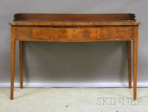 Georgian Inlaid Mahogany and Mahogany Veneer Serpentine Sideboard