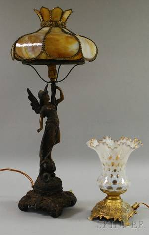Late Victorian Cast Metal Figural Table Lamp with Slag Glass Shade and an Opalescent Thumbspot Ruffled Glass Shade on a Metal Base