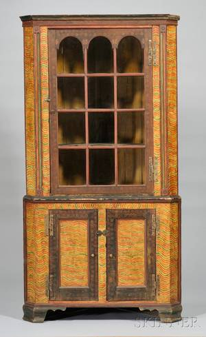 Country Glazed and Polychrome Paintdecorated Wooden Corner Cupboard