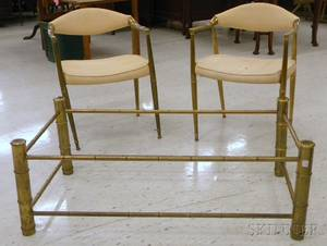 Pair of Modern Upholstered Brass Armchairs and a Glasstop Brass Bambooform Coffee Table