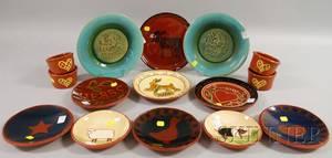 Fifteen 20thcentury Folk Art Pottery Items