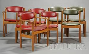 Eight Scandinavian Modern Leather Upholstered Hardwood Chairs