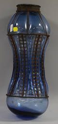 Metalmounted Blue Blownout Glass Hanging Shade