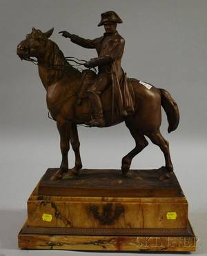 French Goldpainted Cast Metal Napoleon on Horseback Sculpture on Marble Base