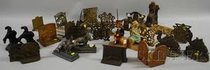 Group of Assorted Metal Figural Bookracks Bookends Etc
