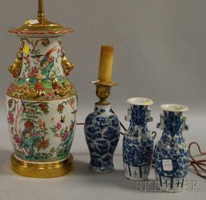 Chinese Export Porcelain Famille Rose VaseTable Lamp and Three Chinese Blue and Whitedecorated Porcelain Items