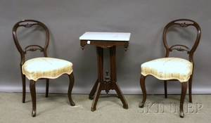 Victorian Eastlaketype Marbletop Walnut Stand and Pair of Victorianstyle Upholstered Parlor Side Chairs