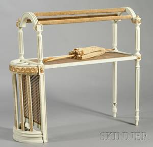 Unusual Whitepainted and Parcelgilt Caned Umbrella StandQuilt Rack