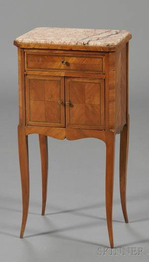 Louis XVXVIstyle Tulipwood Parquetryinlaid and Marbletop Bedside Table