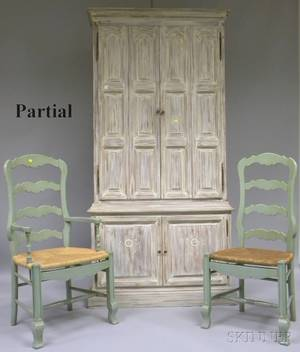 Set of Six French Provincialstyle Greenpainted Slatback Dining Chairs and a Whitepainted Cabinet with Four Paneled Doors