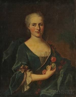 Continental School 18th Century Portrait of a Young Woman with a Rose