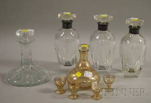 Fivepiece Gilt Art Glass Cordial Set a Set of Three German Sterling Silvermounted Crystal Decanters and a Waterford Attributed D
