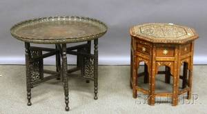 Indian Copper Traytop Carved Hardwood Low Table and a Near Eastern Octagonal Bone Inlaid Hardwood Tabouret