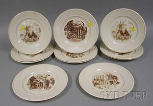 Set of Eleven Wedgwood Charleston South Carolina Ceramic Dinner Plates