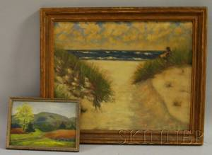 American School 20th Century Lot of Two Framed Oil Landscapes Cape Cod Dunes