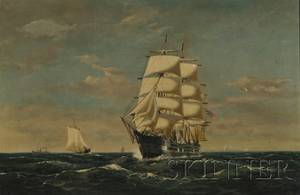 JF Williams American 19th Century View of a ThreeMasted Clipper Ship