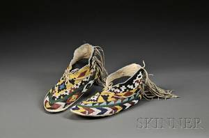 Pair of Southwest Beaded Hide Moccasins