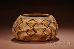 California Polychrome Coiled Basketry Bowl