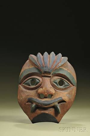 Northwest Coast Carved and Painted Wood Mask