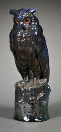 Rambervillers Art Nouveau Lusterglazed Earthenware Figure of an Owl