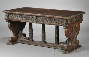 Continental Walnut Renaissance Revival Tavern Table