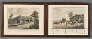 Richard Gilson Reeve British 18031889 Lot of Two Aquatints A False Alarm on the Road to Gretna