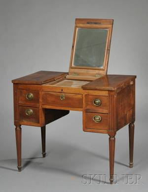 French Provincial Louis XVI Walnut Dressing Table
