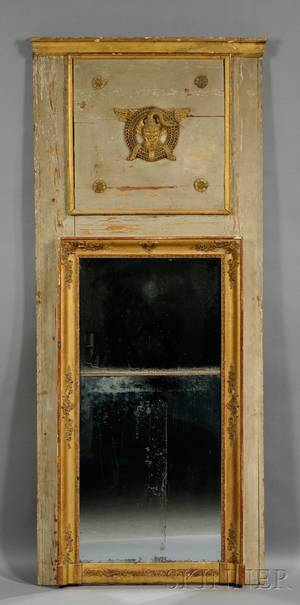 Italian Neoclassical Gray Painted and Parcelgilt Pier Mirror